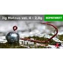 Jigová hlavička Matzuo bez protihrotu - háček 4 Red 2,0g