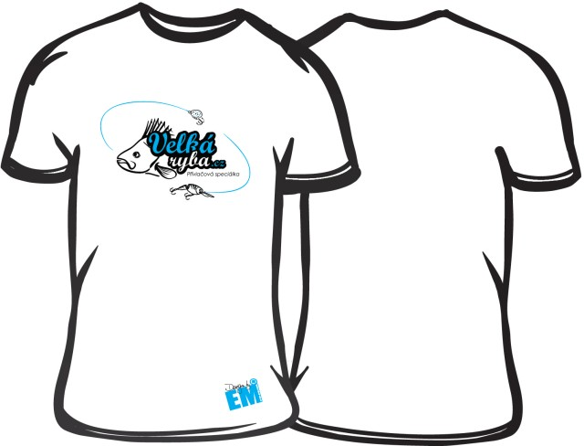 Rybářské tričko Velká Ryba bílé