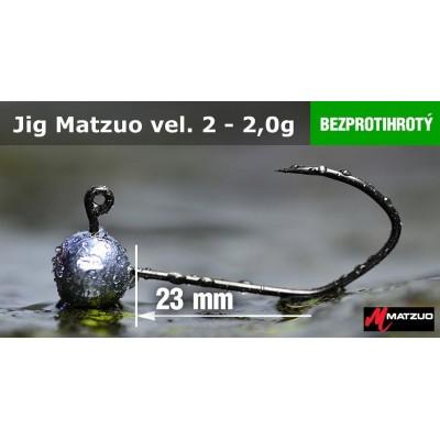 Jigová hlavička Matzuo bez protihrotu - háček 2 Black 2,0g