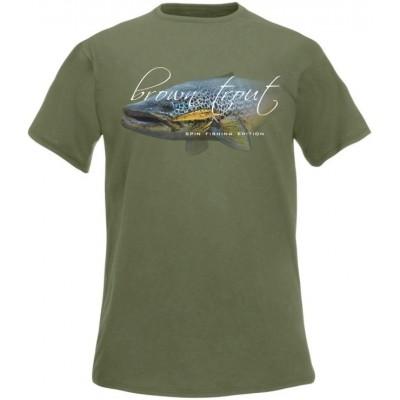Rybářské tričko Flotsam Brown Trout Spin Fishing Edition - Olive