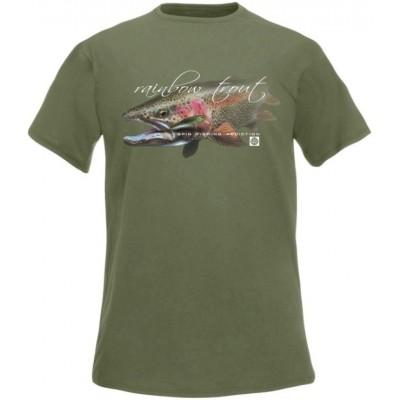 T-Shirt  Flotsam Rainbow Trout Spin Fishing Addiction - Olivová