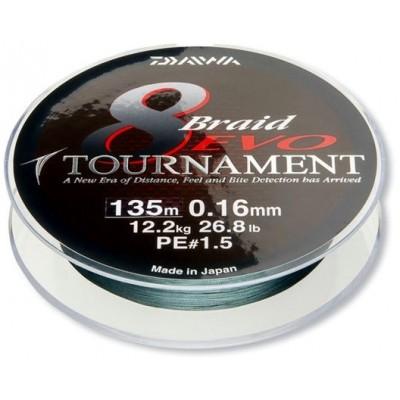 Šňůra Daiwa Tournament 8 Braid EVO 135 m Green