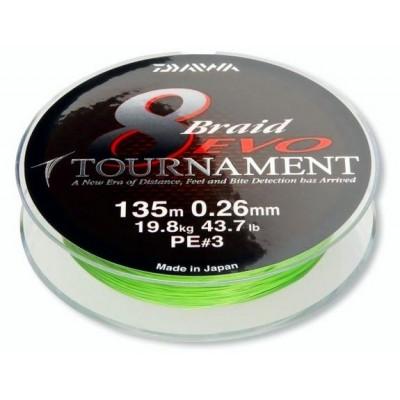Braid Daiwa Tournament 8 Braid EVO 135 m Chartreuse