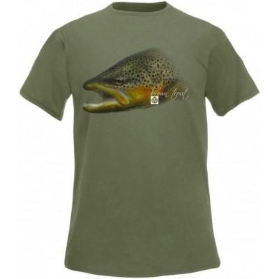 Rybářské tričko Flotsam Brown Trout Flotsam - Olive