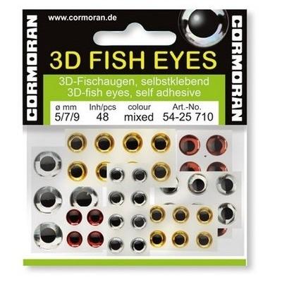 Lepící oči Cormoran 3D Fish Eyes Silver 5 mm