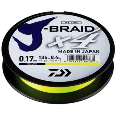 Šňůra Daiwa J-Braid X4 135 m Yellow