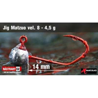 Jigová hlavička Matzuo - háček 8 Red 1,0g