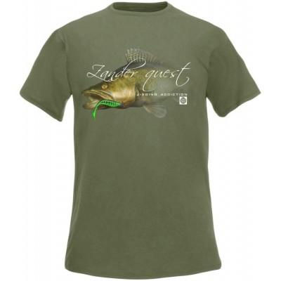 Rybářské tričko Flotsam Zander Jigging Addiction - Olive