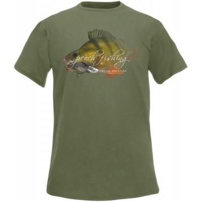 Rybářské tričko Flotsam Perch Lure Fishing Addiction - Olive