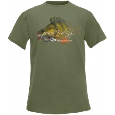 T-Shirt  Flotsam Perch Lure Fishing Addiction - Olive