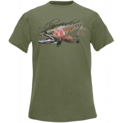 T-Shirt  Flotsam Rainbow Trout Fly Fishing Addiction - Olive