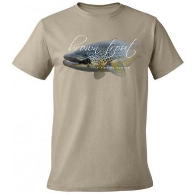 Rybářské tričko Flotsam Pstruh potoční s muškou I - Khaki