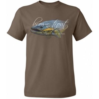 Rybářské tričko Flotsam Pstruh potoční III - Chocolate