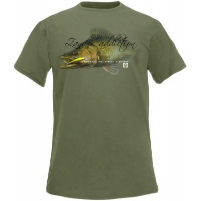 Rybářské tričko Flotsam Candát I - Olive