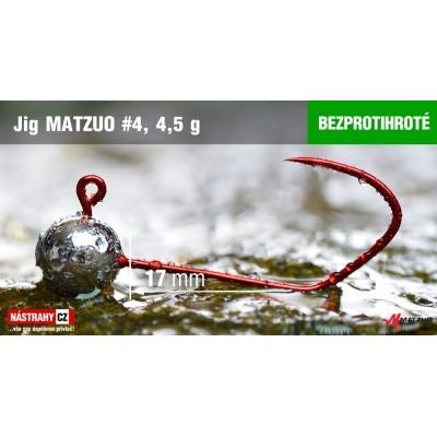Jigová hlavička Matzuo bez protihrotu - háček 4 Red 4,5g