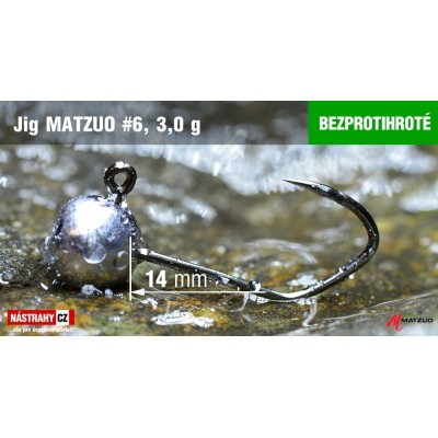 Jig Head Matzuo Barbless - hook 6 Black 3,0g