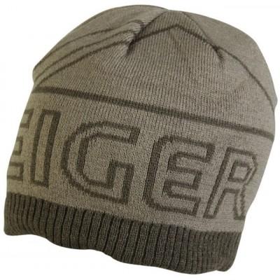 Eiger Logo Knitted Hat Olive Green