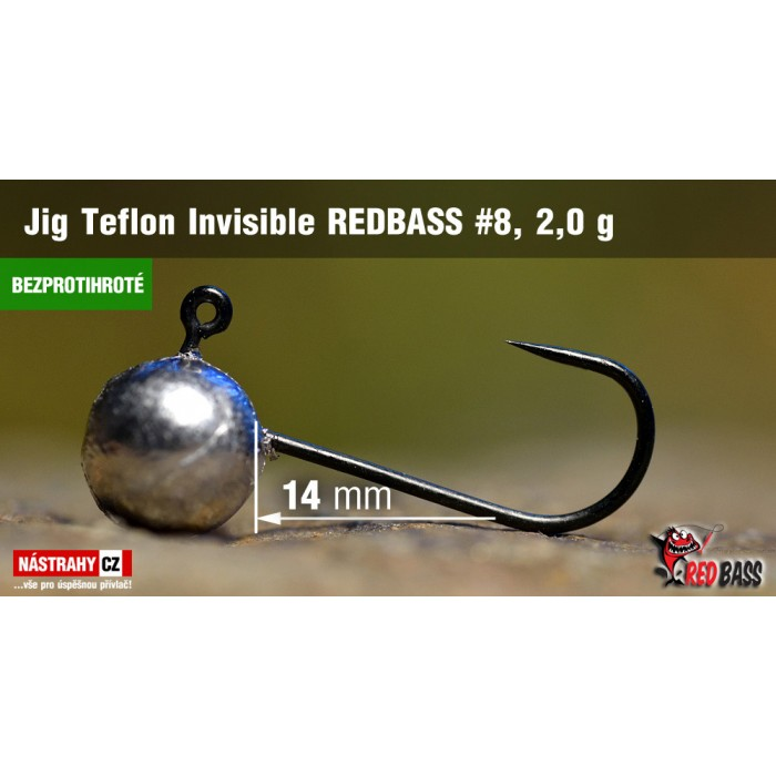 Jig Head Redbass Teflon Invisible Barbless 2g 5Pcs