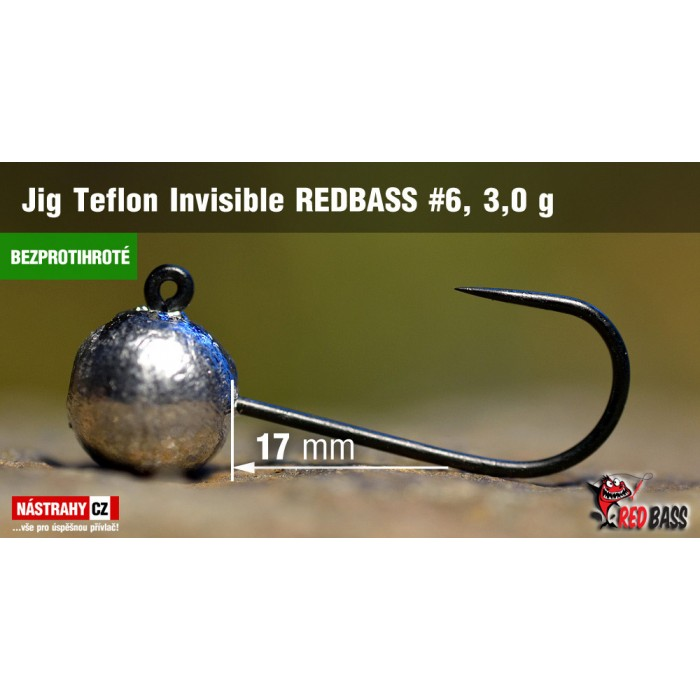 Jig Head Redbass Teflon Invisible Barbless 3g 5Pcs