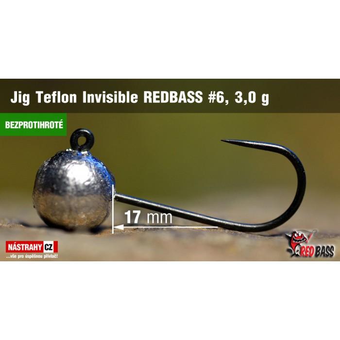 Jigová hlavička bez protihrotu Redbass Teflon Invisible 3g 5ks